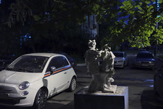 DSCF1785 (Mike Pechyonkin) Tags: sculpture woman tree girl car night yard fiat moscow pioneer    2016