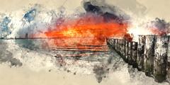 Northern Flare (watercolour edition) (saharsh) Tags: sunset sky panorama art clouds al dubai uae dramatic arab watercolour burj groyn