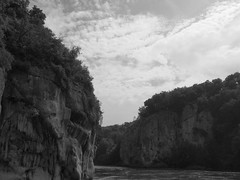 P5270597dsfatt (photos-by-sherm) Tags: trees rock river germany boat spring ship tour danube narrows formations