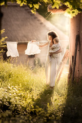 pure (iwona_podlasinska) Tags: woman white lady countryside child cottage mother hut laundry motherhood