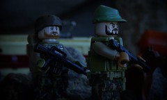 Railroad Defense (Dark_Plague) Tags: railroad dog mountains macro modern train john outside outdoors photography model lego military soldiers defense patrol kirk m16 warfare m4a1 brickarms gibrick
