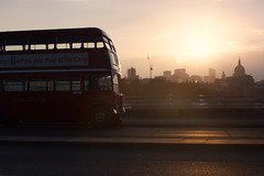 Sunrise over the city of London (gooey_lewy) Tags: city light red sun bus london buses st sunrise golden long er cathedral time events transport over pauls double line route master routemaster rt ensign decker rm 882 wlt 610 llu 3251 ensignbus er882