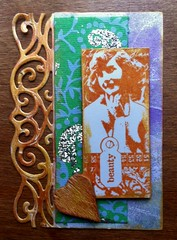 17. Vintage ATC - available. (CraftyBev) Tags: atc wooden background embellishment stamping printed geli gilding diecut patternedpaper