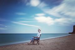 Contemplation colour (corrine8) Tags: longexposure sea portrait sun june sand sophie naturallight blueskies margate vikingbay 2016