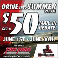 You have until June 30 to save $50 on a set of 4 Hercules tires. Stop in or call! #bigredtire #newtires #tires #hercules #tirepros (Big Red Tire Pros) Tags: red big tire pros instagram