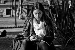 What's up! (Wal CanonEOS) Tags: street blackandwhite bw woman streets byn blancoynegro argentina girl up lady canon eos calle mujer buenosaires day sitting chica whats candid femme dia monocromatic celular celphone callejeando calles whatsup bsas airelibre quepasa sentada femenina caba monocromatico capitalfederal villacrespo ciudaddebuenosaires parquecentenario candidstreet candidgirl alairelibre argentinabsas ciudadautonoma candidwoman streetsbw loquepasa sendingtext rebelt3 canoneosrebelt3 mandandotexto