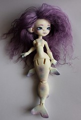 Abyss WS (Le Tama) Tags: white ball doll dolls purple tail wig tiny mohair tama bjd mermaid fin depths abyss jointed urethane