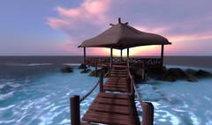 vysta (___rei) Tags: ocean bridge blue sea sky landscape wooden screenshot waves pov pastel empty horizon rope screenshots sl secondlife virtual pastels shack beachhouse