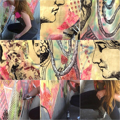 Magdalena Marcenaro Painting Wall Art & Excerpts of her Work  in Brooklyn, New York (soniaadammurray) Tags: travel newyork art collage brooklyn artist workinprogress wallpainting digitalphotography muralpainting