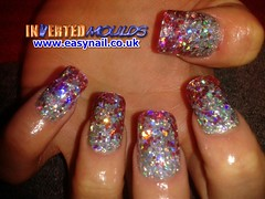 Cheryl Chunky Red and Silver Glitter (invertednailsystems) Tags: uk pink orange black art yellow glitter training silver gold amazing neon pretty im nail powder course nails salon technician extension inverted false ims extensions nailart courses moulds enuk invertednailsystems easynail easynailuk