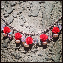 Red rose charm necklace (momaslilsweetpea) Tags: pink red summer rose necklace acrylic crystal gorgeous jewelry pearl chic etsy elegant beaded stylish freshwater