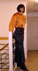The Headmistress (15) (Furre Ausse) Tags: school orange black leather belt boots skirt blouse suit jacket gloves copper satin obedience mistress discipline headmistress governess