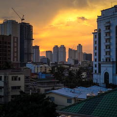 Night falls over Manila