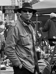 street bw white man black monochrome hat sunglasses glasses nikon antique neil devon antiques dealer trader honiton handsinpockets d7100 moralee