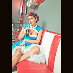 Drink a Coca Cola at the morning | FUJI x100s (dominikfoto) Tags: blue red baby france sexy coffee caf girl brooklyn vintage studio cafe model fuji robe femme coke babe retro fujifilm soda cocacola 50 pinup 1950 boop villefranche ariana modle sexygirl fusina haircurlers bigoudis fusinadominik x100s airanaace