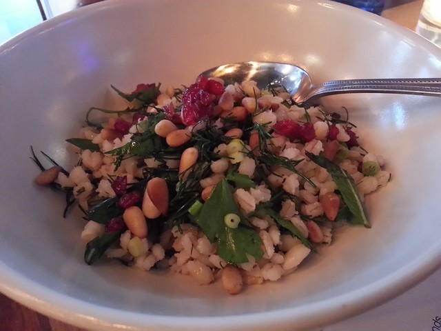 Barley salad, fresh herbs, and zereshk
