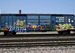 TRUTH - STRIKE - LOKEY - CUATE (Electric Funeral) Tags: railroad art by digital train canon photography graffiti midwest truth nebraska paint railway zee iowa db fremont kansascity railcar missouri lincoln kansas traincar strike omaha boxcar stm graff aerosol freight desmoines wh freighttrain rtd councilbluffs flyid cuate lokey benched e2e goldenwestservice benching xti end2end freighttraingraffiti