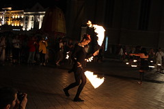 Playing With Fire (itsinthemaking) Tags: street woman girl night canon fire rebel dangerous europe serbia balkan t3i