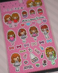 Miki Girl Sticker sheet (Vintage Sanrio) Tags: cute art japan paper toy whimsy hellokitty stickers craft sanrio tape kawaii deco kitch stationary sanx mymelody littletwinstars