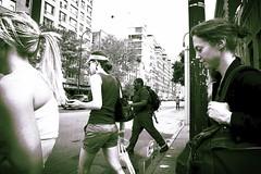diamond ring (omoo) Tags: street newyorkcity girls bw cars girl traffic westvillage streetscene photograph crosswalk hairstyles greenwichvillage diamondring crossingwest14thstreetatseventhavenue lookingeastfromwest14thstreetand7thavenue girlwithdiamondring