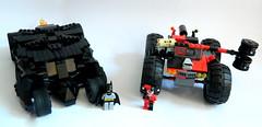 The Tumbler and Harley's Hammer Truck (MrScareChrome) Tags: monster mobile hammer truck lego bat harley creation batman quinn vehicle joker batmobile moc tumbler