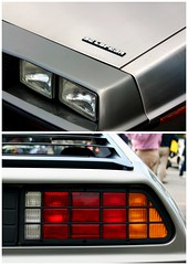 DeLorean heads and tails (overthemoon) Tags: two detail car collage schweiz switzerland automobile suisse headlights montage svizzera delorean backtothefuture vevey vaud romandie tailllights veveyretro2013