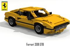 Ferrari 308 GTB Berlinetta (revised closures) (lego911) Tags: auto italy classic car model italian lego render ferrari 71 giallo enzo 70s 1970s coupe challenge v8 cad sportscar lugnuts gtb povray moc 308 berlinetta ldd miniland foitsop lego911 super70ssensation