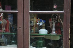 Shop Window and Photographer (chrisotruro) Tags: blue red brown white france reflection window glass dark curiosity