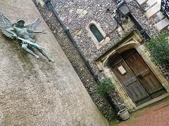 St Michael-in-Lewes (helenoftheways) Tags: door england sculpture freeassociation bronze artwork streetlamp churches eastsussex lewes stmichaelinlewes