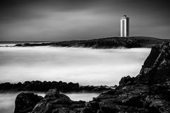 Klfshamarsvk (The Nature Guy) Tags: longexposure sea blackandwhite lighthouse seascape nature water buildings landscape iceland nikon rocks meer northwest fyr basalt ndfilter skagastrnd klfshamarsvk d3100 nikkor1024f3545gdxed