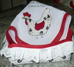 Cestinha de Po (romelia.artesanatos) Tags: galinha po mo tecido aplique feito cestinha