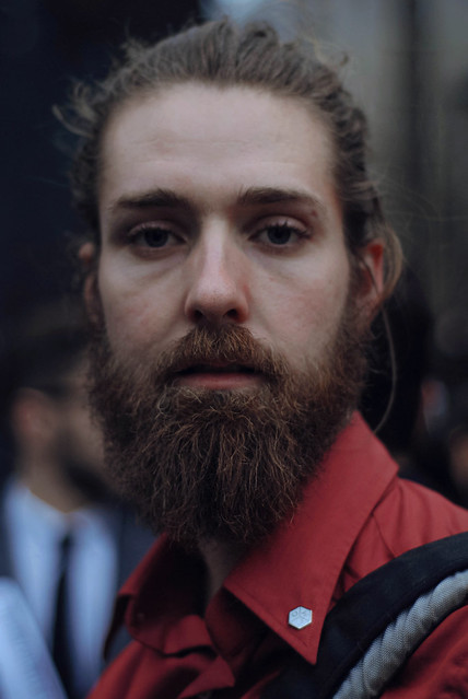 portrait people blur men london face beard expression streetphotography desaturated f18 menswear streetstyle christophershannon menscollections aw14