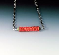 Beaded Tube Bead Necklace (Three Fates Design) Tags: pink necklace beads seed jewelry bead beaded beadwork beadednecklace beadweaving beadwoven threefatesdesign