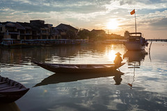 Vietnam - Hoi An Ancient Town -  Boat on Thu Bon River at dusk ([ 117 Imagery ]) Tags: sunset boat asia southeastasia waterfront riverside dusk unescoworldheritagesite vietnam hoian traveldestination quangnam thubon conicalstylehat 117imagery