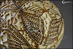 Table lamp XX - Butterflies (Calabarte) Tags: original light shadow sculpture home lamp butterfly design waves handmade geometry unique craft wave exotic gourd sphere lampa handcrafted fractal geometrical lampy luxury exclusive artisan voronoi craftsmanship intricate luminary calabash delaunay tykwa burrerflies krawczynski calabarte gourdartgourd