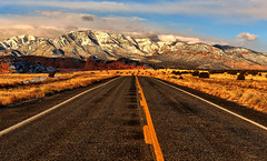 Golden Winter Morning (Jeff Clow) Tags: road travel winter mountains newmexico nature landscape highway escape roadway desertedhighway jeffrclow jeffclowphototours