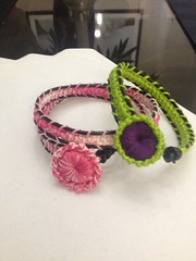 Crochet Romanian Lace Wrap Bracelet w/Crochet Button (Nicole Johnson7) Tags: crochet crochetbracelet dmcthread romanianpointlacecord crochetpuffyroundbutton