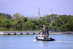 Ivonne C tugboat (oxfordblues84) Tags: cruise venice trees sky italy green water sailing towers campanile tugboat tug ncl norwegianspirit norwegiancruiseline norwegianspiritcruise ivonnec