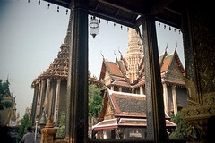 19-669 (ndpa / s. lundeen, archivist) Tags: roof color building tower film rooftop architecture 35mm buildings thailand temple bangkok buddhist nick columns spire tiles grandpalace thai 1970s pillars 1972 19 1973 watphrakaew templeoftheemeraldbuddha dewolf finials nickdewolf coloredtiles photographbynickdewolf reel19