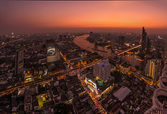 Lebua Panorama Shot (5AAAAM) Tags: city blue sunset sky sun set river landscape asian thailand landscapes twilight nikon asia cityscape state bangkok over cityscapes hangover le thai dome skytower riverfront bluehour 20mm 20 f18 hang chaopraya bkk bua chaoprayariver statetower d600 skyhigh lebua 20f18 nikond600