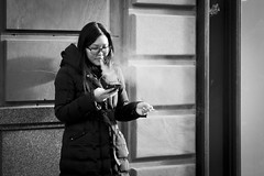 Smoke Screen (Leanne Boulton) Tags: life lighting street city uk light shadow portrait people urban blackandwhite bw woman white black detail texture monochrome face mobile female canon landscape photography 50mm mono scotland living blackwhite pretty shadows phone natural humanity outdoor expression glasgow cigarette candid smoke young streetphotography documentary social scene smoking human shade 7d smoker tone facial commentary exhaling candidstreetphotography