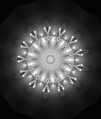 Kaleidoscope of Light Beams (sjrankin) Tags: light panorama sun window japan museum sapporo hokkaido edited kaleidoscope hallway grayscale processed lightbeams akarenga filtered oldgovernmentbuilding october2013 8february2015