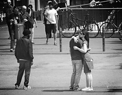 Hug (Eric_G73) Tags: street people blackandwhite bw love monochrome hugging hug candid streetphotography streetlife streetscene lovers goodbyes candidphotography