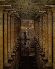 Buffalo Bayou Park Cistern (Mike Schaffner) Tags: park old reflection public water stairs reflections concrete industrial columns storage railings municipal cistern watersupply buffalobayou bbpcistern