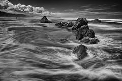 (rainbow wasabi) Tags: ocean blackandwhite seascape beach nature monochrome clouds oregon landscape coast rocks waves pacific northwest shoreline