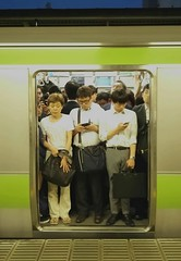 Everybody's Happy Nowadays (Jamie Barras) Tags: people station japan train tokyo spring transport may railway jr packed crowded 2016