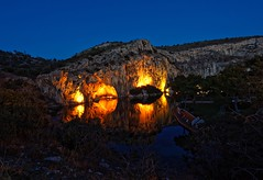 Spirit of the lake (Explore May 16, 2016) (dkoukou) Tags: lake reflection water lights rocks glow nightscape dusk sony tripod athens explore greece caves a7r fe1635