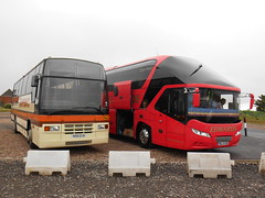 Newton's H155 DJU and Edwards Coaches ML13 XOB (welsh bus 16) Tags: volvo barry starliner paramount newtons 3500 neoplan plaxton b10m scotlandandbates edwardscoaches ml13xob h155dju