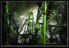 Photo artistry - Six Fags Adventure, Ma (mcleod.robbie) Tags: green action fast flags rollercoaster six shockofthenew
