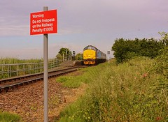 None Stop through Berney Arms (Chris Baines) Tags: site arms great railway norwich service former yarmouth signalbox cottages berney drs 1455 37419